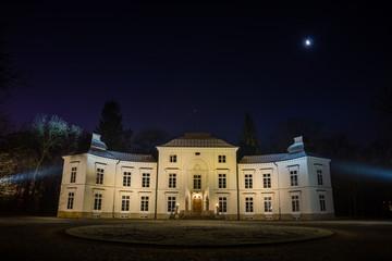 Myslewicki palace in Lazienki Park at night  in Warsaw, Poland