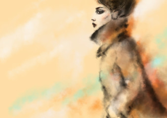 Deurstickers Aquarel Gezicht Abstract woman in coat. Fashion illustration.