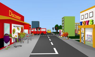 Valentin Stadt: Stadtansicht mit Discounter, Fast Food, Spielwarengeschäft, Bus, Straßen, Häusern und Herzen. 3d render