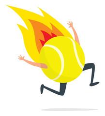 Tennis ball running on fire
