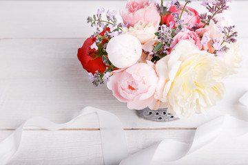 Bouquet of English rose in vase, gift, red candles in the shape of heart, ribbon. Greeting card, invitation in light pastel colors.