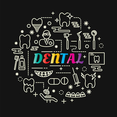 dental colorful gradient with line icons set