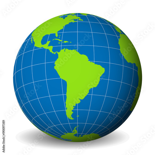 Earth globe with green world map and blue seas and oceans focused on earth globe with green world map and blue seas and oceans focused on south america gumiabroncs Choice Image