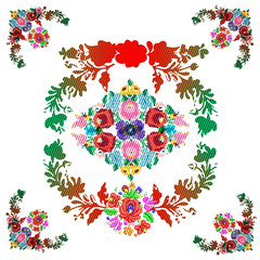 "Hungarian ""matyo"" folk vector pattern"