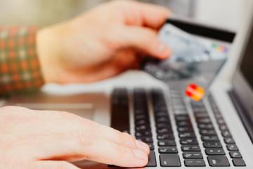 Online payment via credit card concept