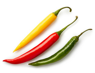 Three colorful chili peppers