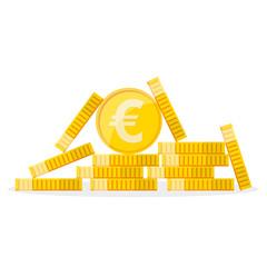 Heap of the golden euro coins. Vector illustration.