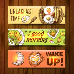 Hand drawn vector illustration. Breakfast is a great start of th