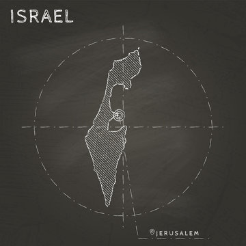 Israel chalk map with capital marked hand drawn on textured school blackboard. Chalk Israel outline with Jerusalem marked. Vector illustration.
