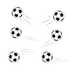 Set of soccer ball icons on white background. Balls fly in different directions, a trace from the flight. Vector illustration