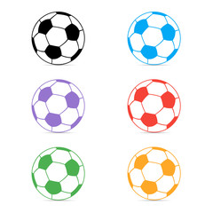Set of colored soccer ball icons on white background. Vector illustration