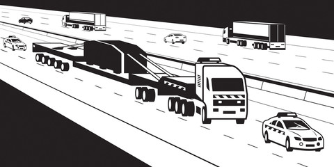 Heavy duty truck with pilot cars on highway - vector illustration