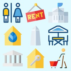 Icons set about Construction with toilet, monumental, shopping, washington monument, for rent and white house