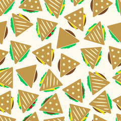 set of color tortilla or sandwich tacos food seamless pattern eps10