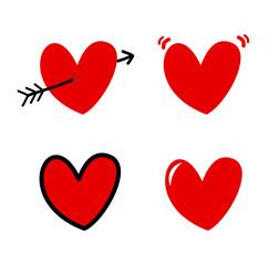 Cartoon hearts icons