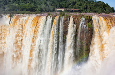 The Iguazu Falls on the Brazilian side. Photographed from the Argentine side.