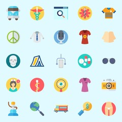 Icons set about Hippies with van, pacifism, pharmacy, pipe, nurse and skull