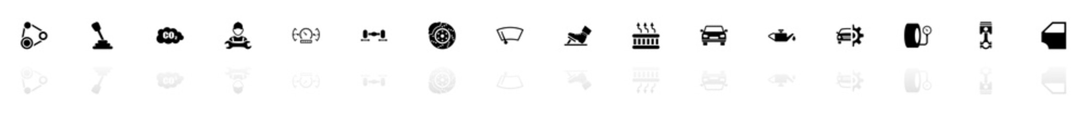 Auto icons - Black horizontal Illustration symbol on White Background with a mirror Shadow reflection. Flat Vector Icon.