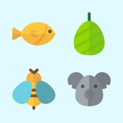 Icons set about Animals with fish, koala, cocoon and wasp