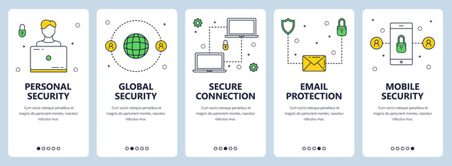 Vector modern thin line personal security concept web banner set