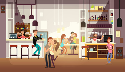 People eating lunch in cafe bar interior. Flat vector illustration