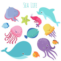Cute baby sea fishes. Vector cartoon underwater animals collection