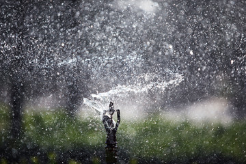 close up of abstract splash water sprinkler background.