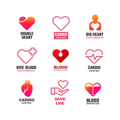 Cardiology and blood donation vector medical logos. International heart day emblems