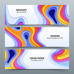 Fashion abstract advertising vector banners with 3d paper cutting curved shapes