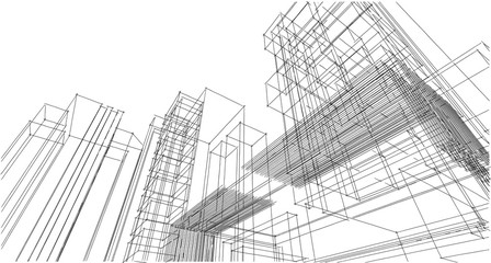Abstract architectral drawing sketch,Illustration