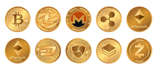 Cryptocurrency logo set - bitcoin, litecoin, ethereum, ethereum classic, monero, ripple, zcash dash stratis nem. Golden coins with Cryptocurrency symbol