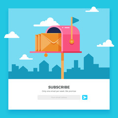 Email subscribe, online newsletter vector template with mailbox and submit button
