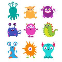 Cartoon funny monsters vector set for t-shirt design