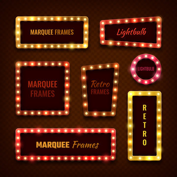 Vintage 3d light marquee vegas frames with lightbulbs vector set