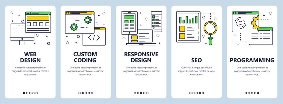Vector modern thin line web design concept banner set