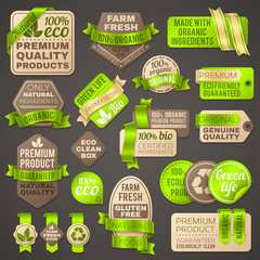 Grocery shop organic vector signs. Supermarket package labels for healthy fresh vegetables