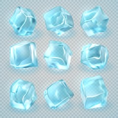 Realistic 3d ice cubes isolated on transparent background. Vector set