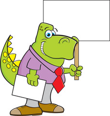 Cartoon illustration of a dinosaur wearing a tie and holding a sign.