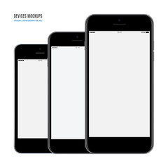 smartphone mockup set with blank screen isolated on white background. stock vector illustration eps10