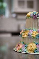 Decorated cake in bakery