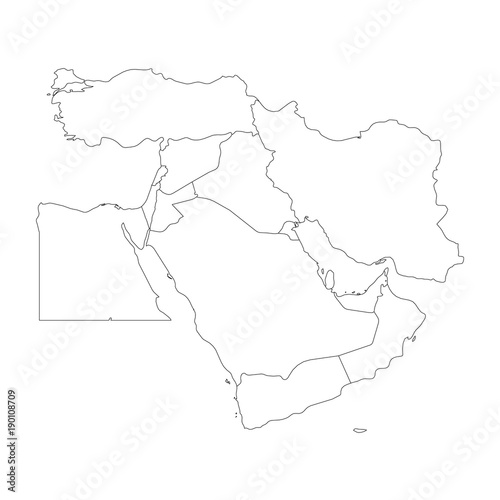 Blank map of Middle East, or Near East. Simple flat outline ...