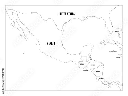 Political map of Central America and Mexico in four shades of green ...