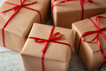 Parcel gift boxes on wooden table