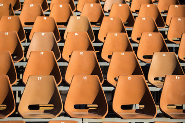 Aluminium Prints Stadion Plastic seats in the stadium