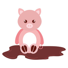 cute and tender pig in the swamp character