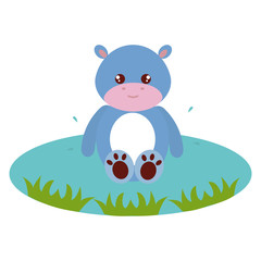 cute and tender hippopotamus in the lake character