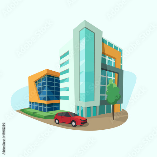 Cityscape Icon With Modern Shopping Center Office Space And Car