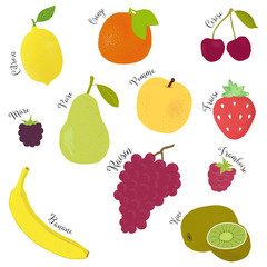 hand drawn Fruits set icon with french text