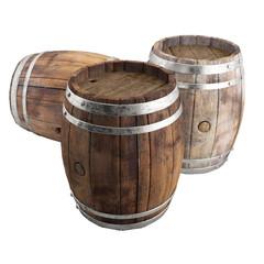 Old wine barrel Set - 3d illustration  isolated on white background