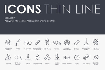 CHEMISTRY Thin Line Icons